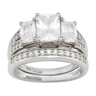 Gioelli Sterling Silver Cubic Zirconia Bridal-style Ring Set