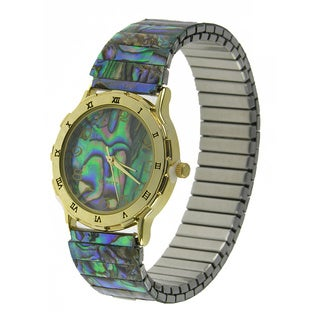 Women's Genuine Abalone Stretch Band Watch with Roman Numerals