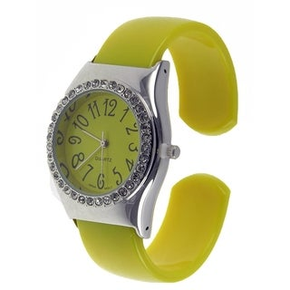 Women's Yellow Cuff Style Watch with Clear Crystals Yellow and Dial Easy to Read Dial
