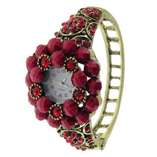 Women's Antique Gold Bangle Vintage Watch with Red Faceted Stones and Crystals