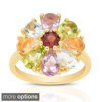 Dolce Giavonna Gold Over Sterling Silver Gemstone Flower Ring