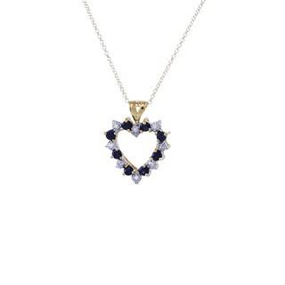 Sterling Silver Vermeil Diamond Sapphire Open Heart 18-inch Pendant Necklace