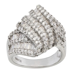 Gioelli Sterling Silver Cubic Zirconia Twist Ring