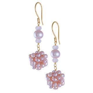 14k Yellow Gold Pink Freshwater and Cultured Pearl Rose Quartz Popcorn Dangle Earrings (9-10 mm)