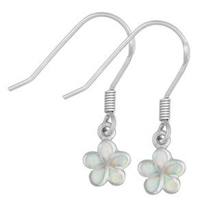 La Preciosa Sterling Silver White Opal Flower Dangling Earrings