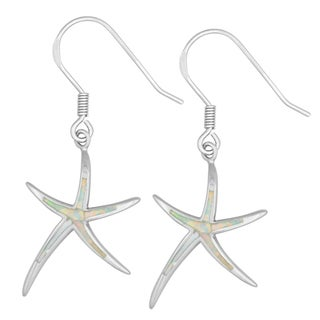 La Preciosa Sterling Silver White Opal Dancing Starfish Earrings