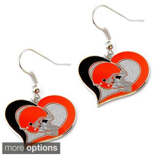 NFL Swirl Heart Earring Dangle Logo Charm Gift Set