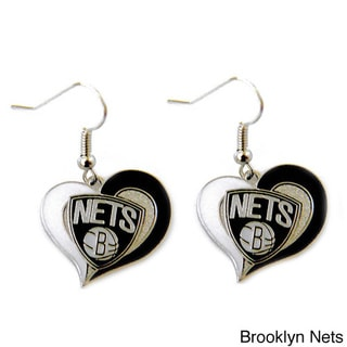 NBA Swirl Heart Earring Dangle Logo Charm