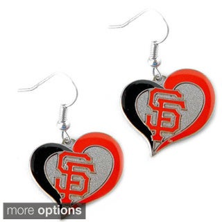 MLB Swirl Heart Dangle Logo Charm Earring