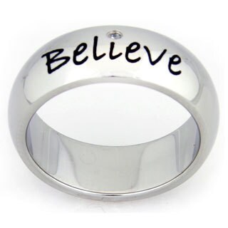 Inspirational 'Believe' Stainless Steel Cubic Zirconia Ring