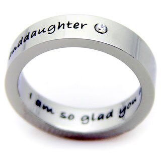 'Granddaughter I'm So Glad You Are Mine' Stainless Steel Cubic Zirconia Ring