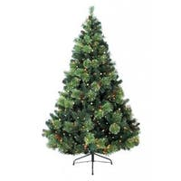 7-foot Prelit Artificial Charlotte Pine Tree with 600 Clear Lights and Metal Stand