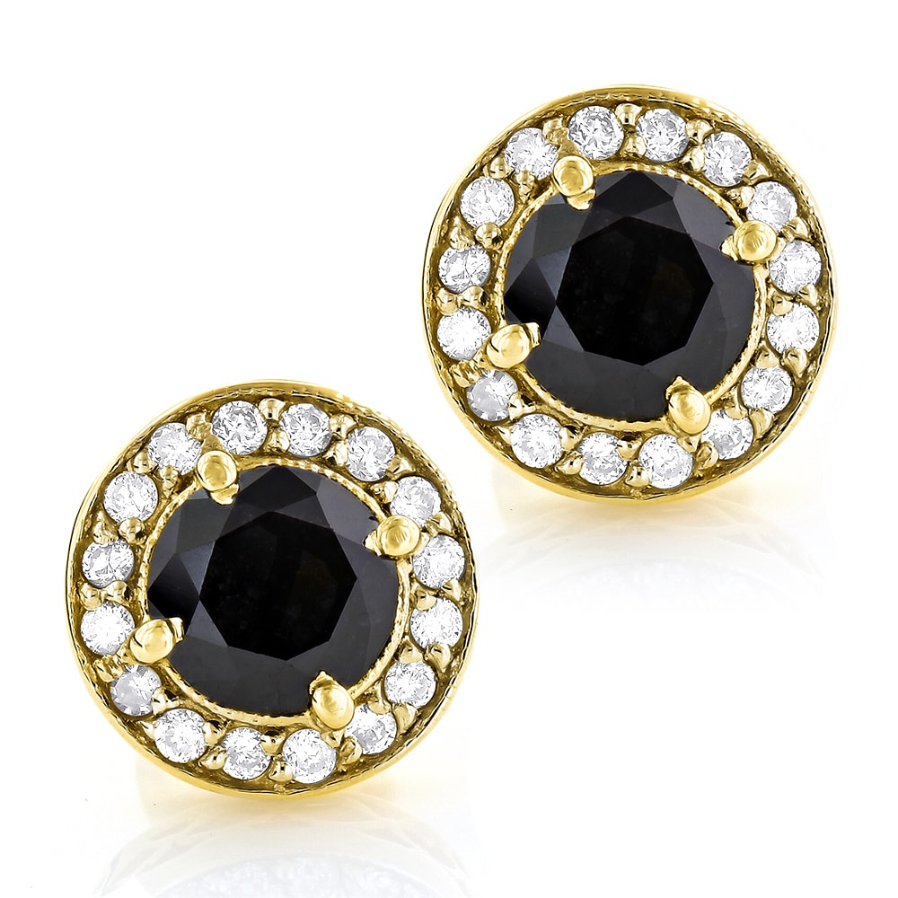 fcd14420fe2b32 Luxurman 14k Gold 1 7/8ct TDW White and Black Diamond Designer Stud ...