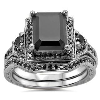 Noori 14k White Gold 2 1/4ct TDW Black Emerald Cut Certified Diamond Bridal Ring Set