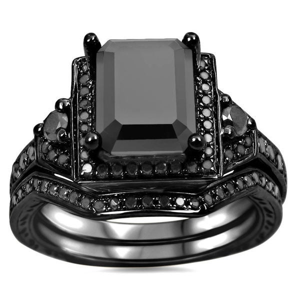 noori 14k black gold 2 14ct tdw black emerald cut certified diamond bridal ring - Black Gold Wedding Ring Sets