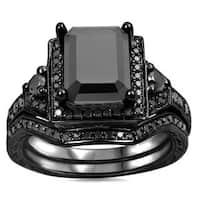 Noori 14k Black Gold 2 1/4ct TDW Black Emerald Cut Certified Diamond Bridal Ring Set
