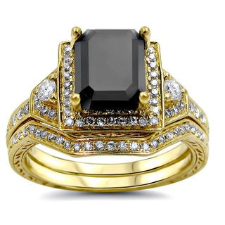 Noori 14k Yellow Gold 2 1/4ct TDW Black and White Certified Diamond Bridal Ring Set