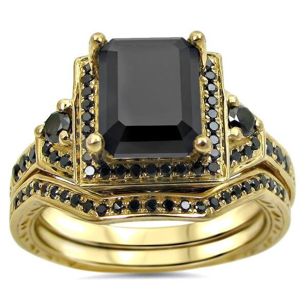 Noori 14k Yellow Gold 2 1/4ct TDW Black Certified Diamond Bridal Ring Set