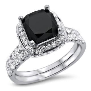 Noori 18k White Gold 2 3/4ct TDW Black and White Diamond Bridal Ring Set (F-G, SI1-SI2)
