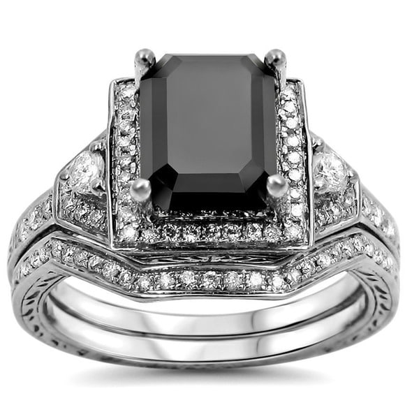 Noori 14k White Gold 2 1/3ct TDW Black and White Certified Diamond Bridal Ring Set