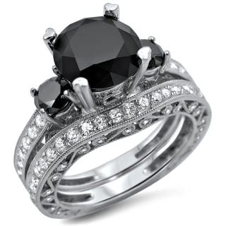 Noori 18k White Gold 4 2/5ct TDW Black and White 3-stone Diamond Bridal Ring Set (F-G, SI1-SI2)