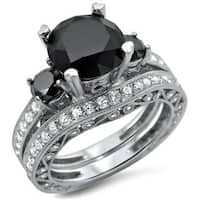 Noori 18k White Gold 4 2/5ct TDW Black and White 3-stone Diamond Bridal Ring Set