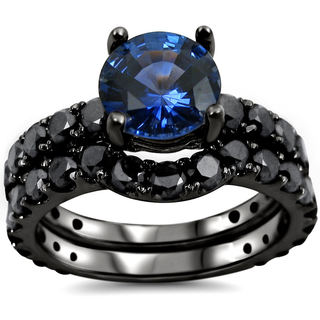 Noori 14k Black Gold Blue Sapphire and 2 1/6 TDW Black Certified Diamond Bridal Ring Set