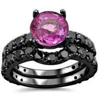 Noori 14k Black Gold Pink Sapphire and 2 1/6 TDW Black Diamond Bridal Ring Set