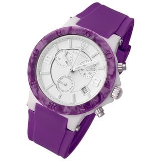 Rougois Women's Pop Series Chronograph Purple Silicone Band Watch