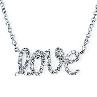Boston Bay Diamonds 14k White Gold Diamond Accent Love Cursive Necklace