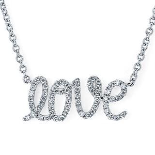Boston Bay Diamonds 14k White Gold 1/7ct TDW Diamond Love Pendant w/ Chain
