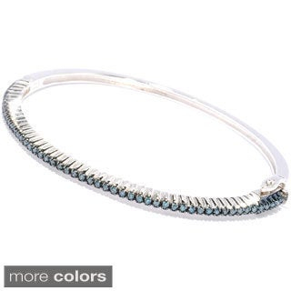 Sterling Silver 1/2ct TDW Stackable Blue, Brown, White or Yellow Diamond Bangle Bracelet