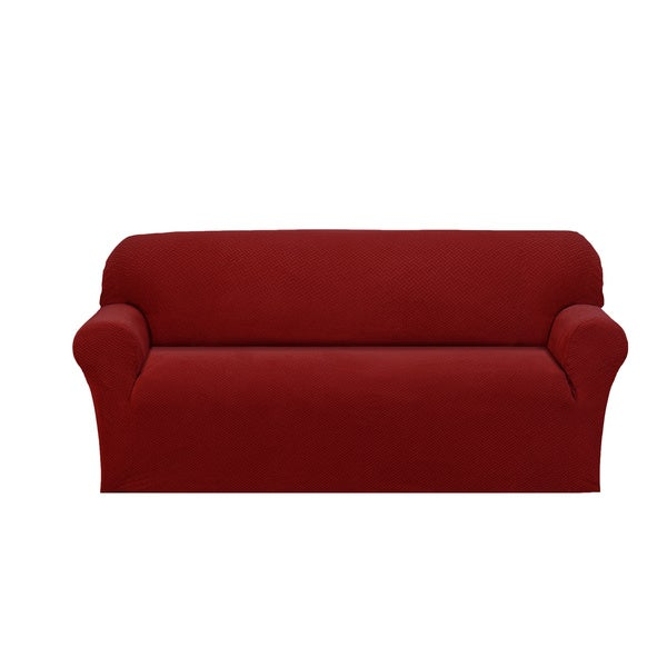 Basketweave Stretch Sofa Slipcover   Free Shipping On Orders Over $45    Overstock.com   16782164