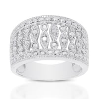 Finesque Sterling Silver Diamond Accent Ring