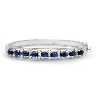 14k White Gold Sapphire and 3/5ct TDW Diamond Bracelet (F-G, VS1-VS2)