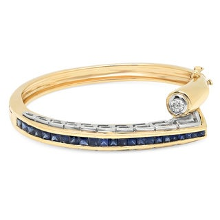 14k Yellow Gold Sapphire and 1/3ct TDW Diamond Bangle Bracelet (F-G, VS1-VS2)