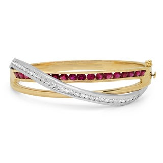 14k Two-tone Gold Ruby and 2ct TDW Diamond Bangle Bracelet (F-G. VS1-VS2)