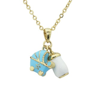 Junior Jewels Enamel Baby Carriage and Bottle Pendant