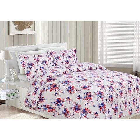Rose Garden Flannel Luxury 3-piece Printed Duvet Cover Set