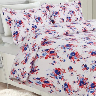 Rose Garden Flannel Luxury 3-piece Printed Duvet Cover Set