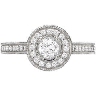 Avanti 14k White Gold 1 1/4ct TDW Round Halo Diamond Ring (G-H, SI