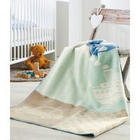 IBENA Cuddly Kids Blue PatchworkThrow