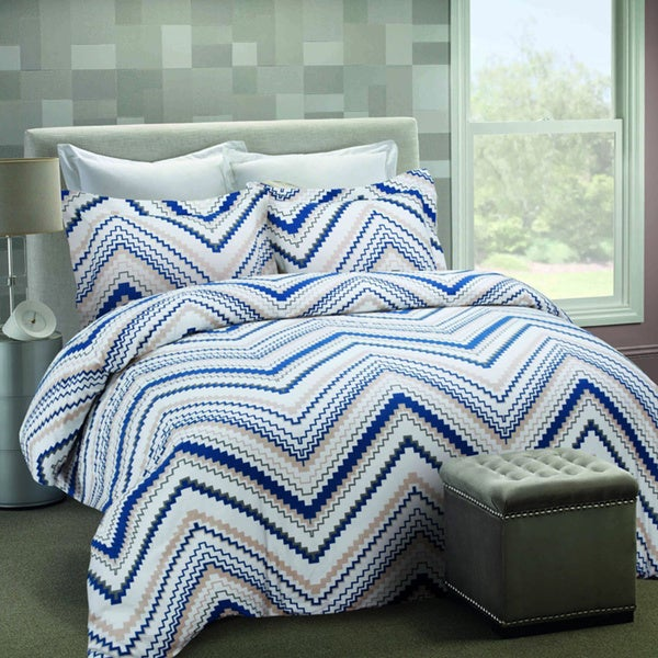 Chevron Luxury 3-piece Flannel Printed Duvet Cover Set