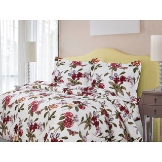 Printed Flannel 3 Piece Paisley Garden Duvet Cover Set by Tribeca Living
