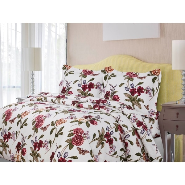 Blossoms Flannel Luxury 3-piece Printed Duvet Cover Set