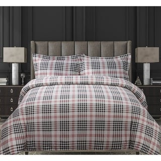 Plaid Luxury 3-piece Printed Flannel Duvet Cover Set