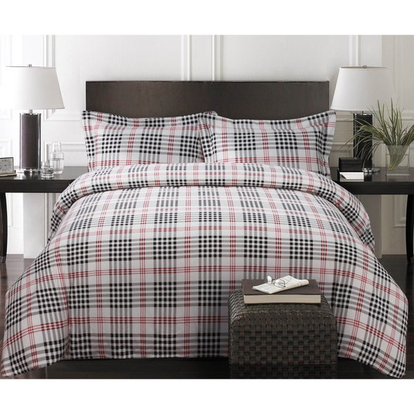 Plaid Luxury 3 Piece Printed Flannel Duvet Cover Set