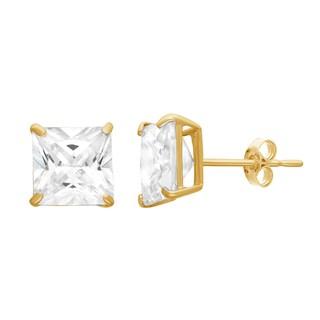 Gioelli 10KT Gold 4.2 tcw 6mm Princess Cut Basket-set Stud Earrings