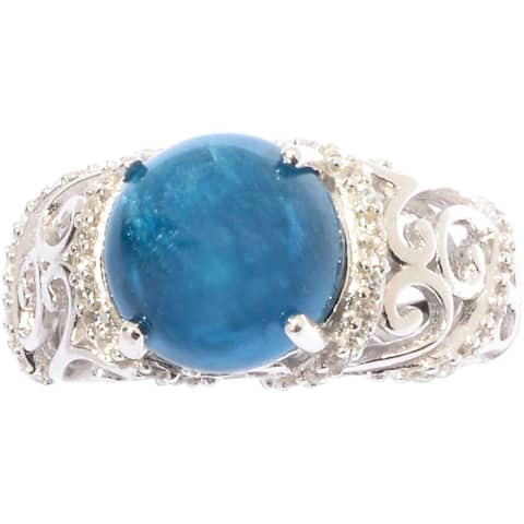 Sterling Silver Apatite and White Zircon Scrollwork Ring