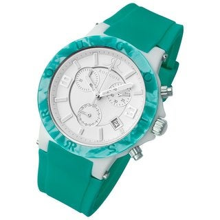 Rougois Women's Pop Series Chronograph Green Silicone Band Watch